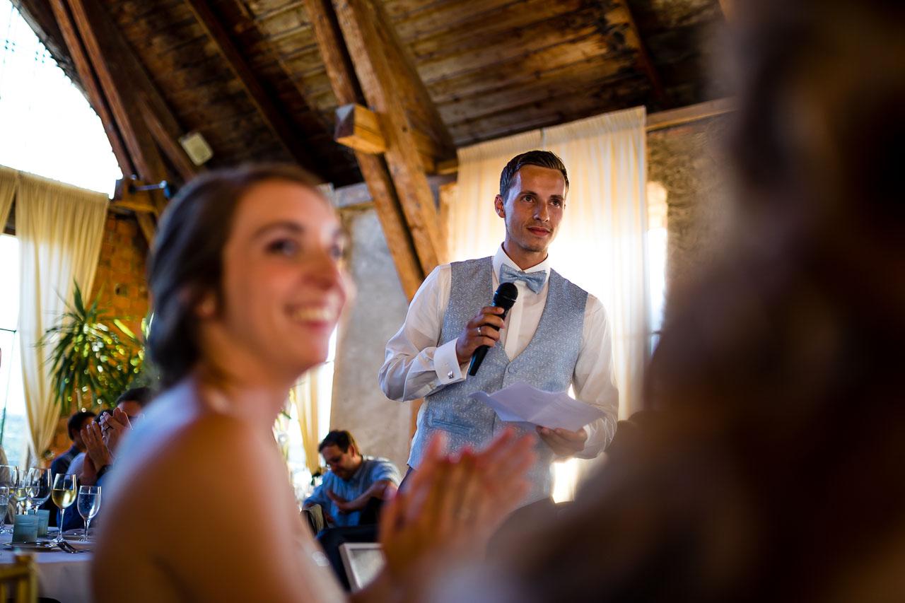 Rede Bräutigam Orangerie Schloss Langenburg Hochzeitsfotograf